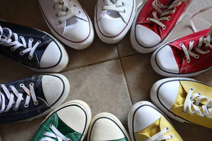 circle of multicolor chuck taylor all star shoes